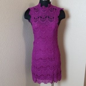 Free People Purple Lace Lined Mini Dress New
